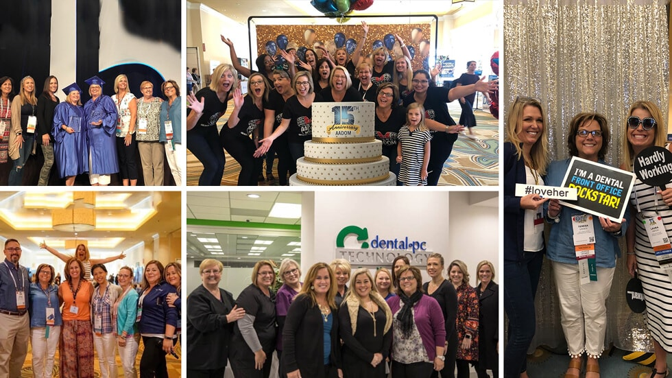 A collage of the 15th anniversary of AADOM that shows our members celebrating in different areas while they pose and smile